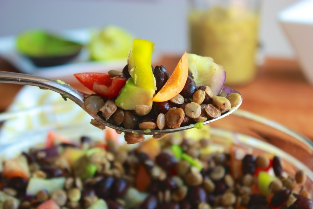 Lentil Black Bean Bell Pepper Salad w:Tomatillo Sauce | Living Minnaly12.jpg