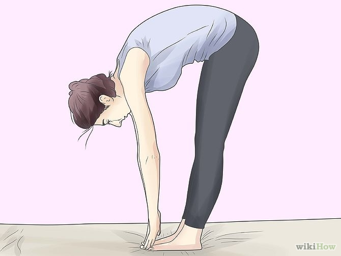 This is...a mild ouch. Cartoon lady demonstrating poor hip mobility, moving through/rounding her lower back instead to touch the floor. Ouchies. Your lower back should not look like a camel hump, FYI. Image source