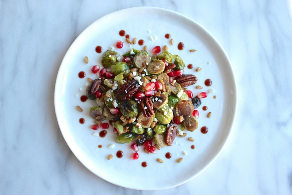 Roasted Brussel Sprouts w:Pomegranate, Feta, and Farro | Living Minnaly13.jpg