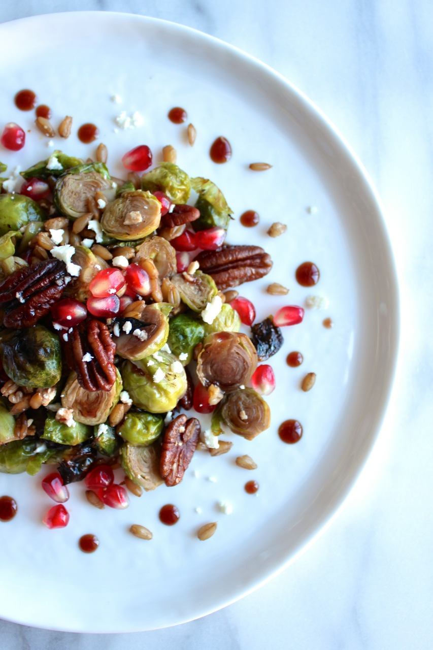 Roasted Brussel Sprouts w:Pomegranate, Feta, and Farro | Living Minnaly15.jpg