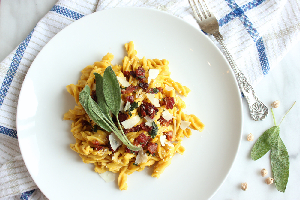 Butternut Squash Carbonara w/Sage Maple Bacon 1| Living Minnaly