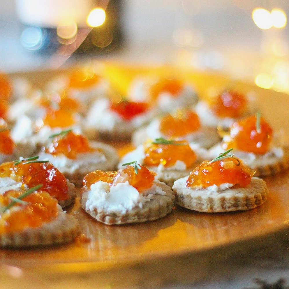 Savory Bites w:Goat Cheese and Jam Lab Blood Orange Rosemary Jam.jpg