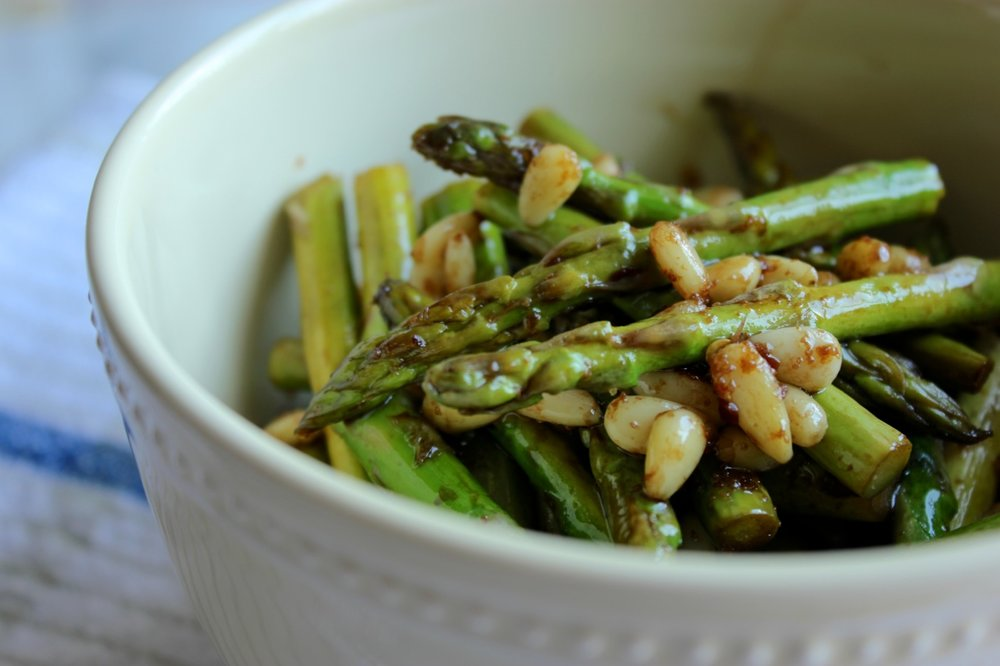Balsamic Roasted Asparagus w/ Pine Nuts