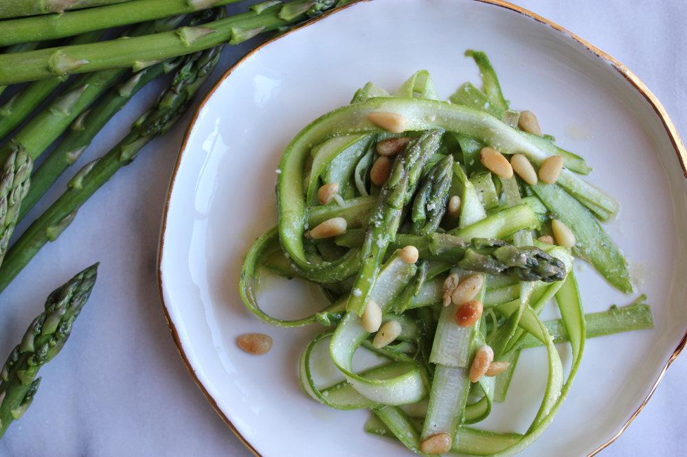 Shaved Asparagus Ribbon Salad wLemon Parmesan