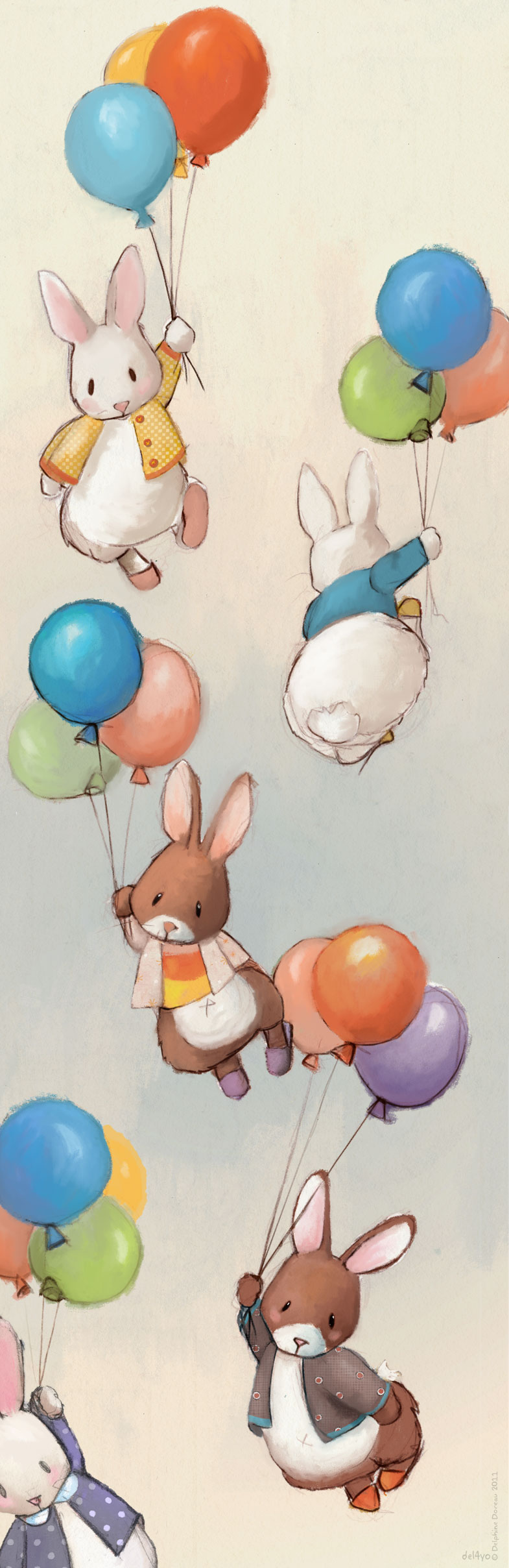 Poster Flying bunnies 02