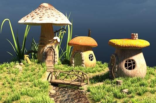 While the mycelium houses wouldn't really look like this, I can't help imagining it.