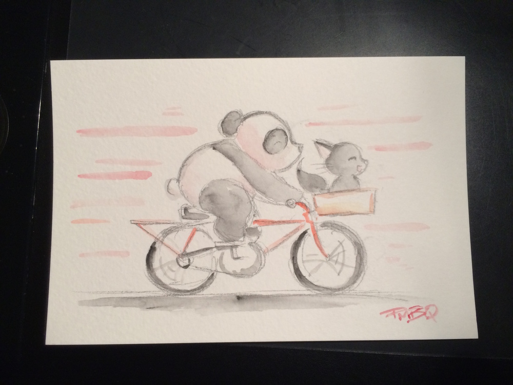 Pandas, cats and bicycles - the winning combination that you never knew existed until today. Artwork by PMBQ, who is also handling our water bottle design.