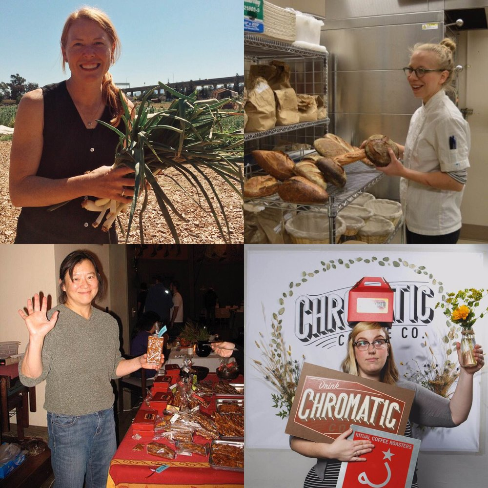 Clockwise from top left: Cayce Hill, Executive Director of Veggielution, Avery Ruzicka, Co-Owner/Head Baker of Manresa Bread, Otessa Crandell, Retail Director of Chromatic Coffee, and Hway-Ling Hsu, Owner/Head Baker of Sweetdragon Baking Company.
