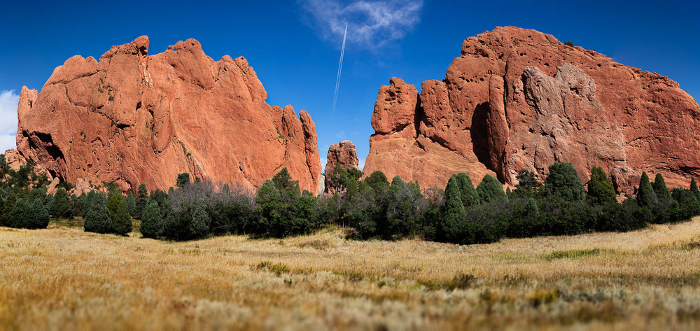 Garden of the Gods, Colorado Springs, CO (jet composited in)