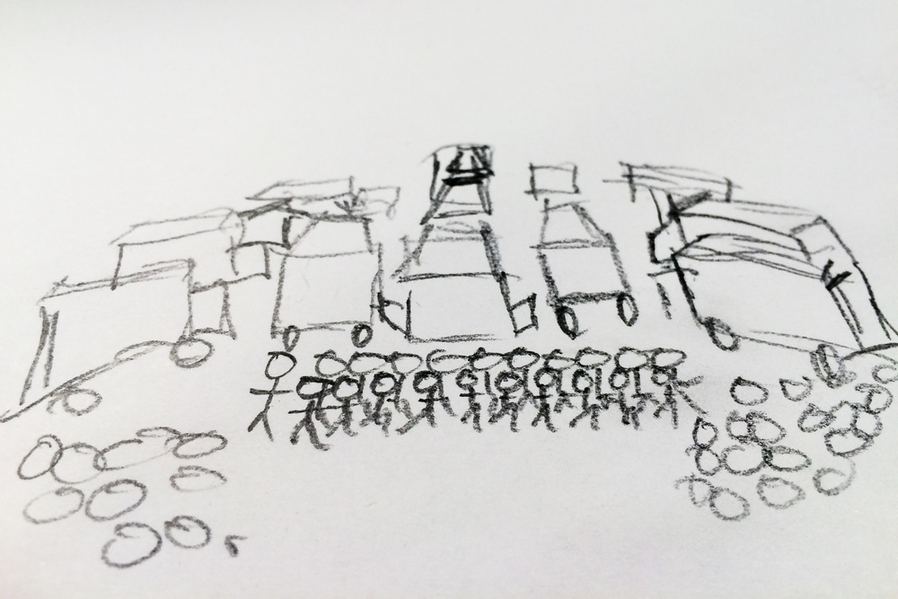 Early concept sketch for commercial photo shoot for A & D Hydra-Clean.  The client wanted to get as many of their trucks, equipment, and team into the photo as we could.
