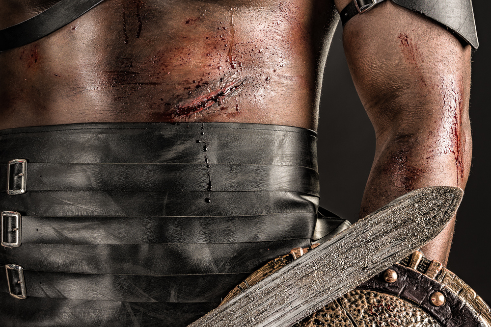 Spartacus special effects makeup by Paige Nicole Pannell:  blood, cuts, scars, grit, and grime.