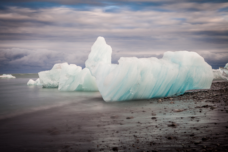By the glacial lagoon beach. Here you could easily spend a whole day and always be seeing new and interesting angles to shoot!