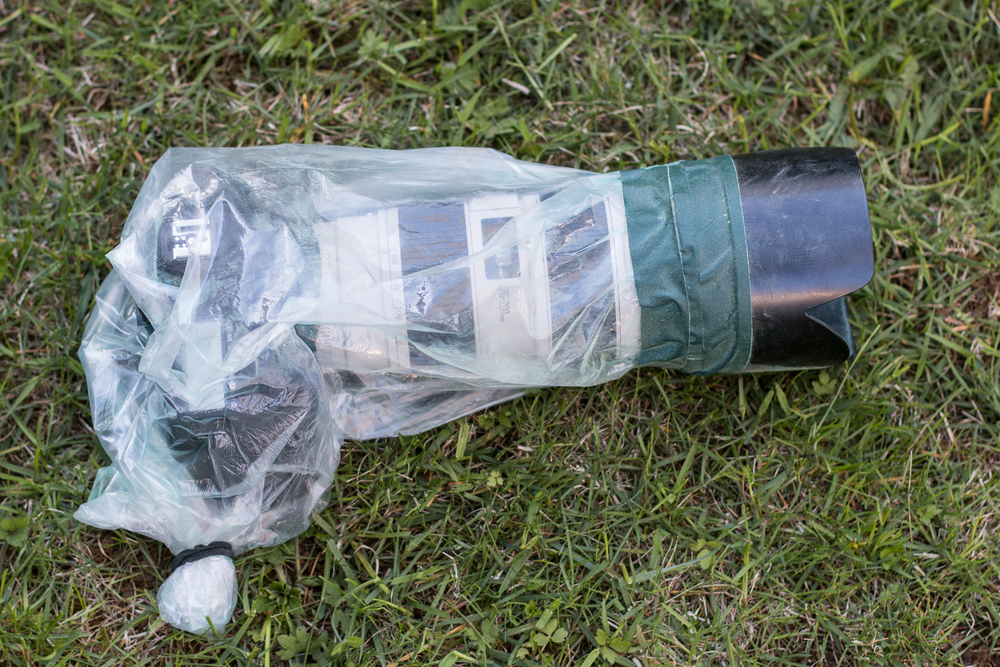 The camera sealed up in OP/Tech Rainsleeve.