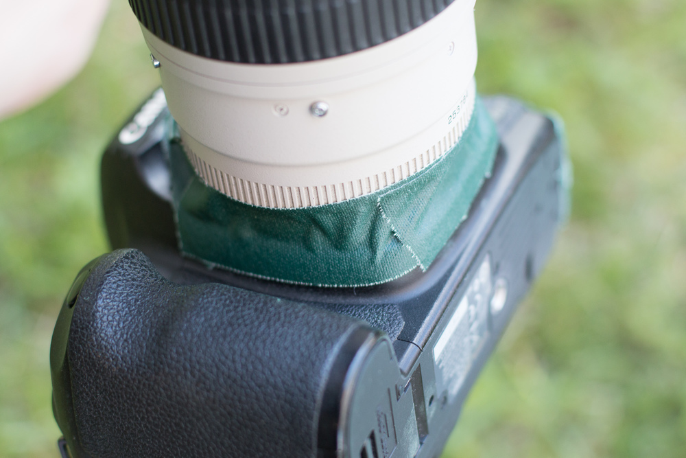 Call me super paranoid, but I even sealed off the area where the lens meets the camera body. I seriously do NOT want any of the Color Run dust into my camera at all.