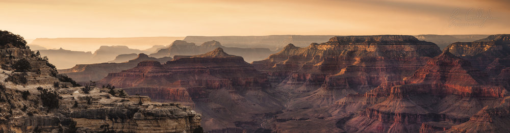 A Smoky Haze Settles Among Canyon Ridges - Grand Canyon