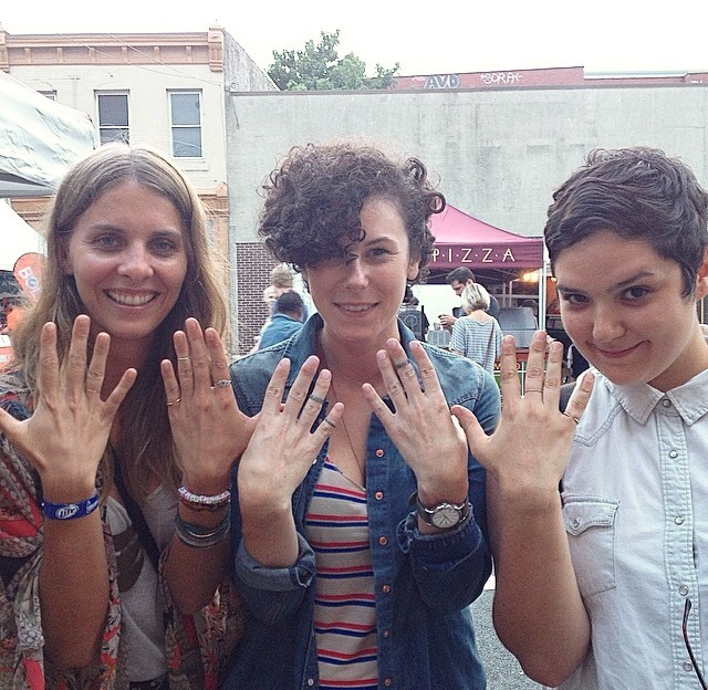 These ladies have ring bling! Nadine (left) & Marcelle (right) rocking Bombita Designs Brass Midi-Rings and Adrea (middle) fully stacked with a few Demure de Rigueur Skinny Notch Rings.