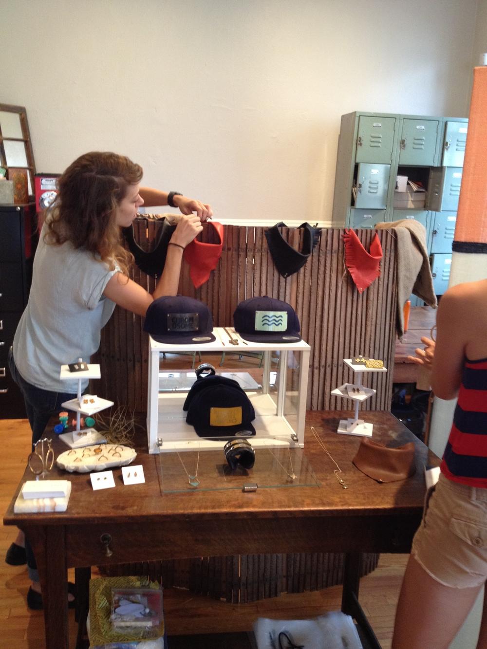 Emily & Desiree setting up shop