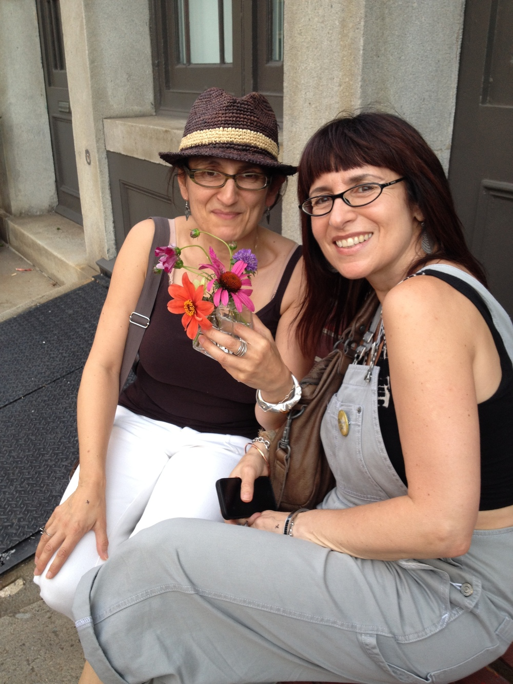 Good times with the owner of  Bus Stop Boutique  Elena Brennan and friend- Chicory Flowers in hand with Bombita Designs Anti-Clastic Silver Citrine Cuff on wrist.