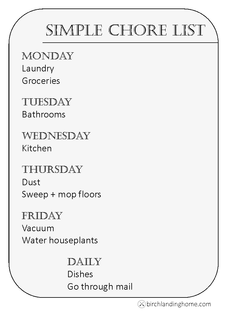 Simple everyday chore list to keep your home clean and organized - Free Printable
