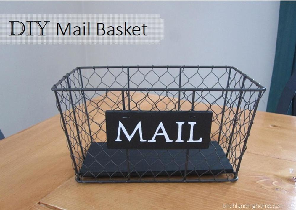 DIY Mail basket organization