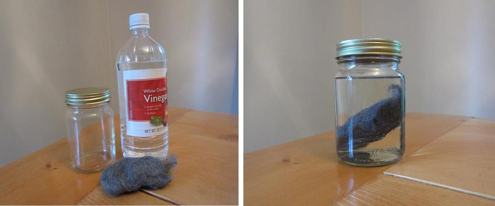 Making steel wool and vinegar stain at home