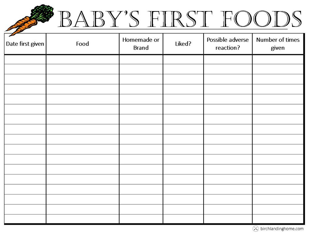 baby 39 s first foods the basics free printable chart journal birch landing home. Black Bedroom Furniture Sets. Home Design Ideas