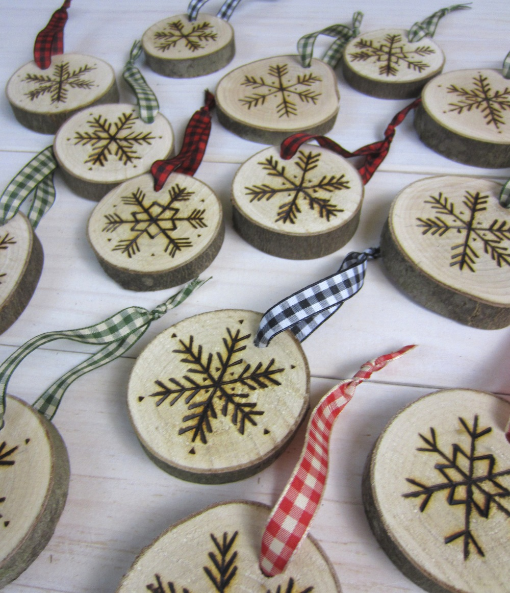 New hand-etched snowflake ornaments from Birch Landing Home