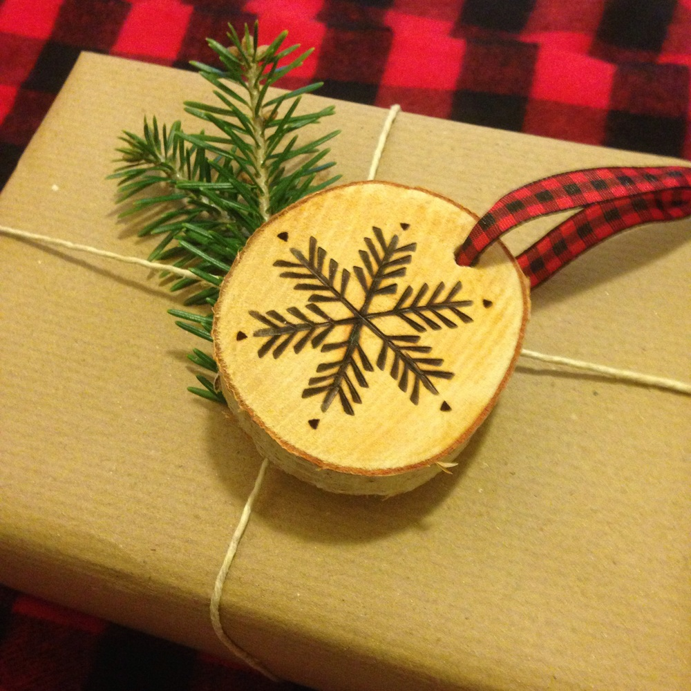 Rustic ornament as an embellishemnt on Christmas present / wrapping