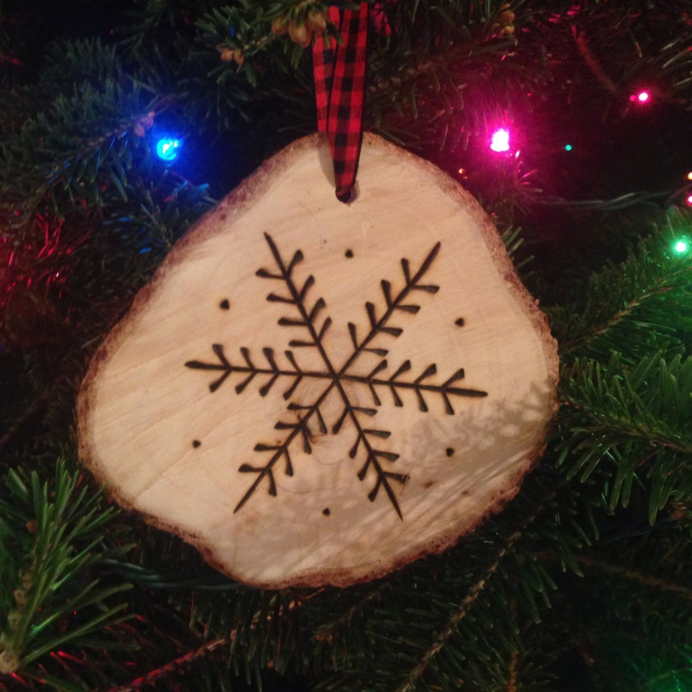 Turn a slice of your first Christmas tree into a special keepsake ornament