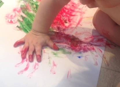 Finger painting for Valentine Cards