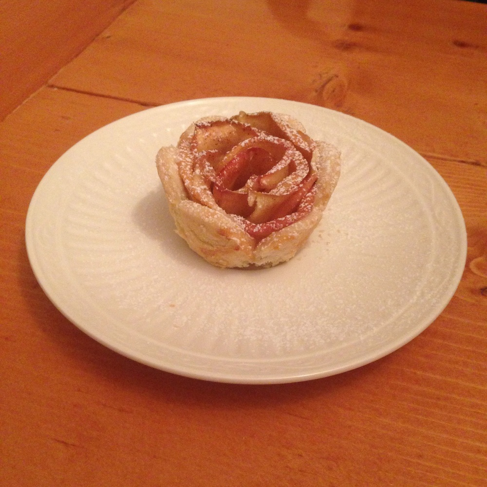 Apple Rose Tarts dusted with powdered sugar - delicious!