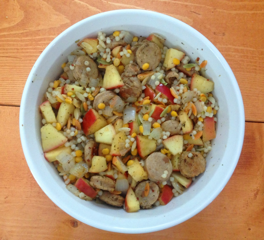 Trader Joe's Harvest Grains Mix, chicken sausage, apples, onions, and spices - yum!