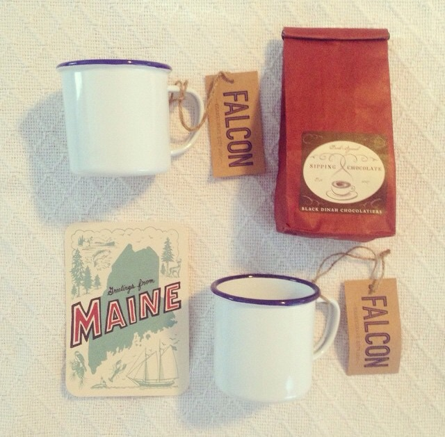 Some great items from Daytrip Society - Falcon Enamelware mugs and Black Dinah Sipping Chocolate