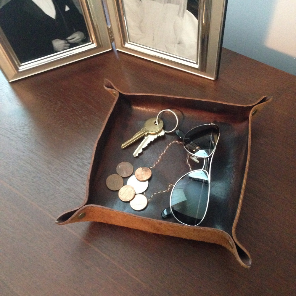 Maine Leather Co.'s leather catch-all tray