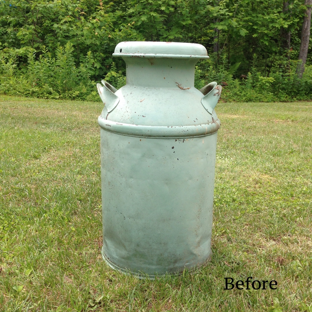 Before: Old beat up antique milk can