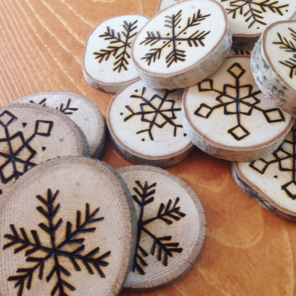 Birch Landing Home's hand-etched ornaments in progress