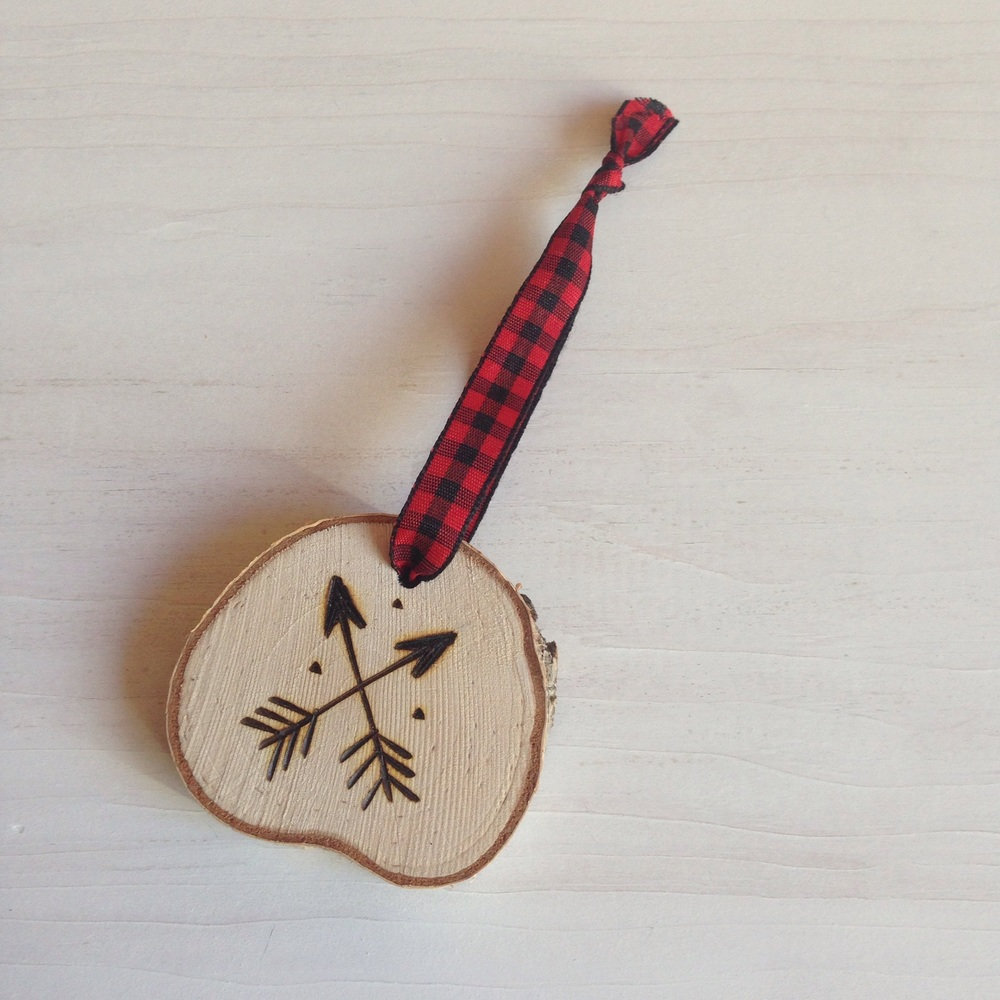 |  Arrow Hand-Etched Ornament in Birch  |