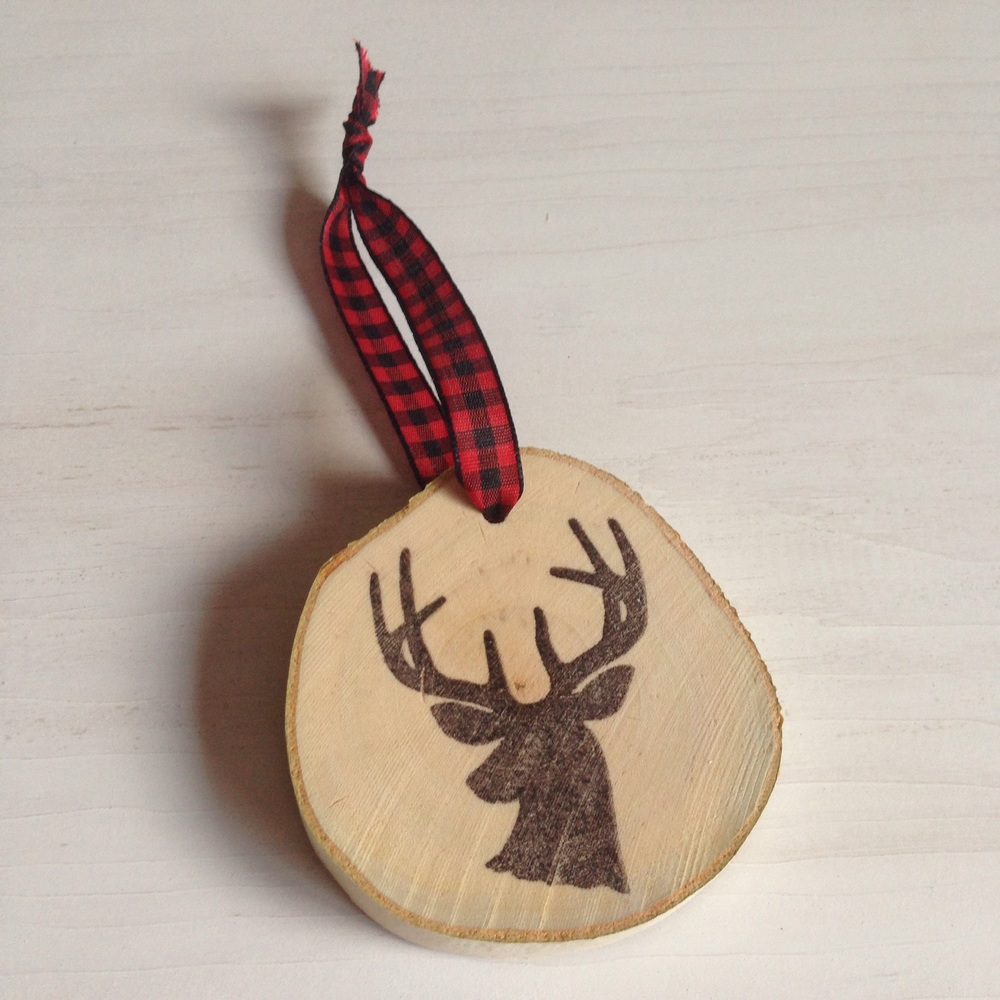 Deer Silhouette Birch Ornament