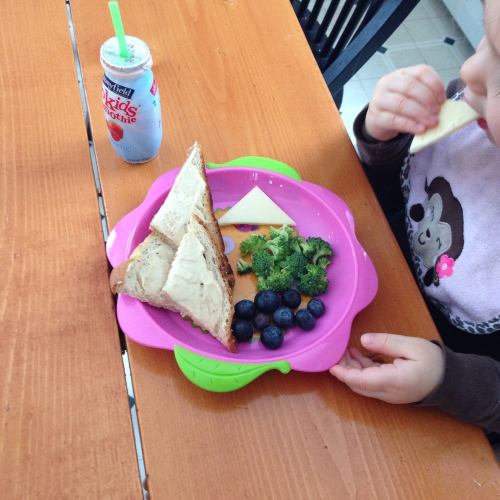 Toddler eating a healthy lunch