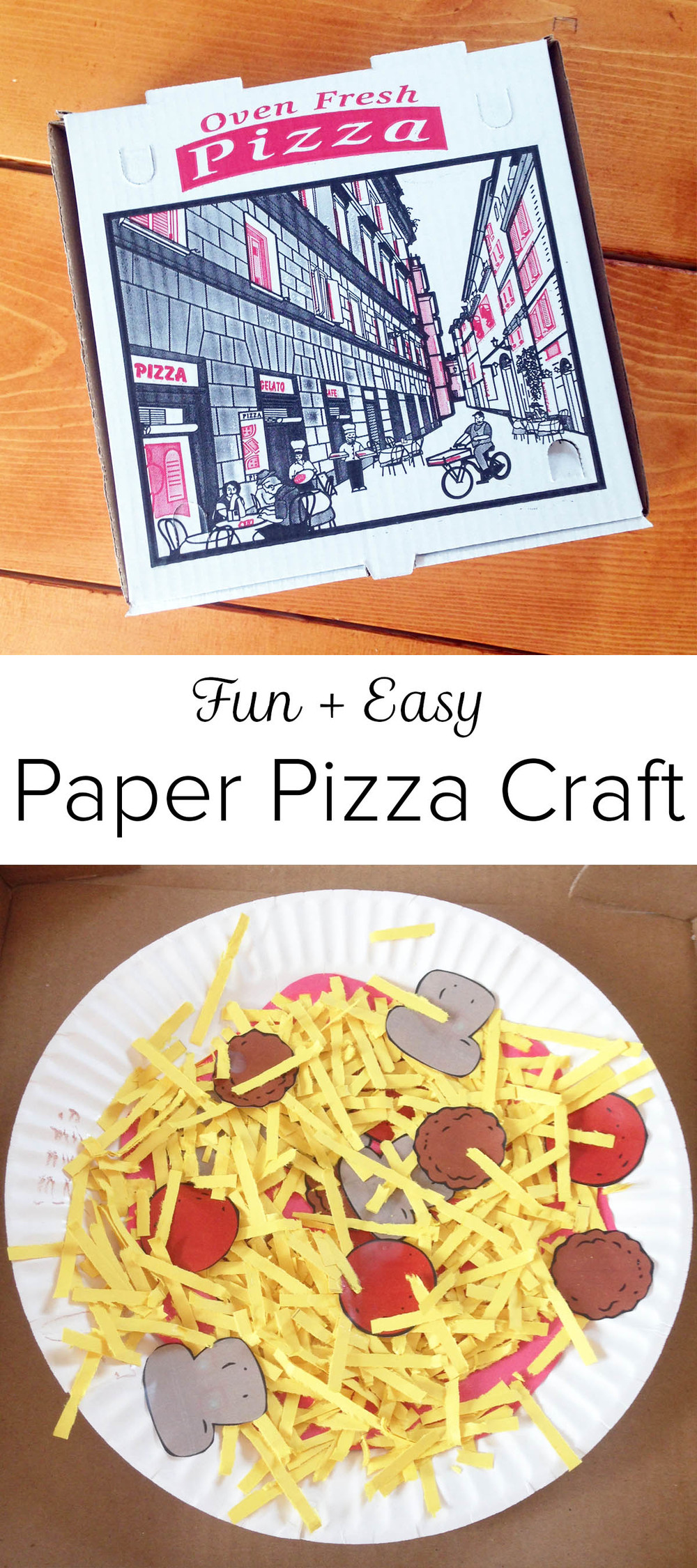 Fun + Easy Paper Pizza Craft - great for a kids' pizza party