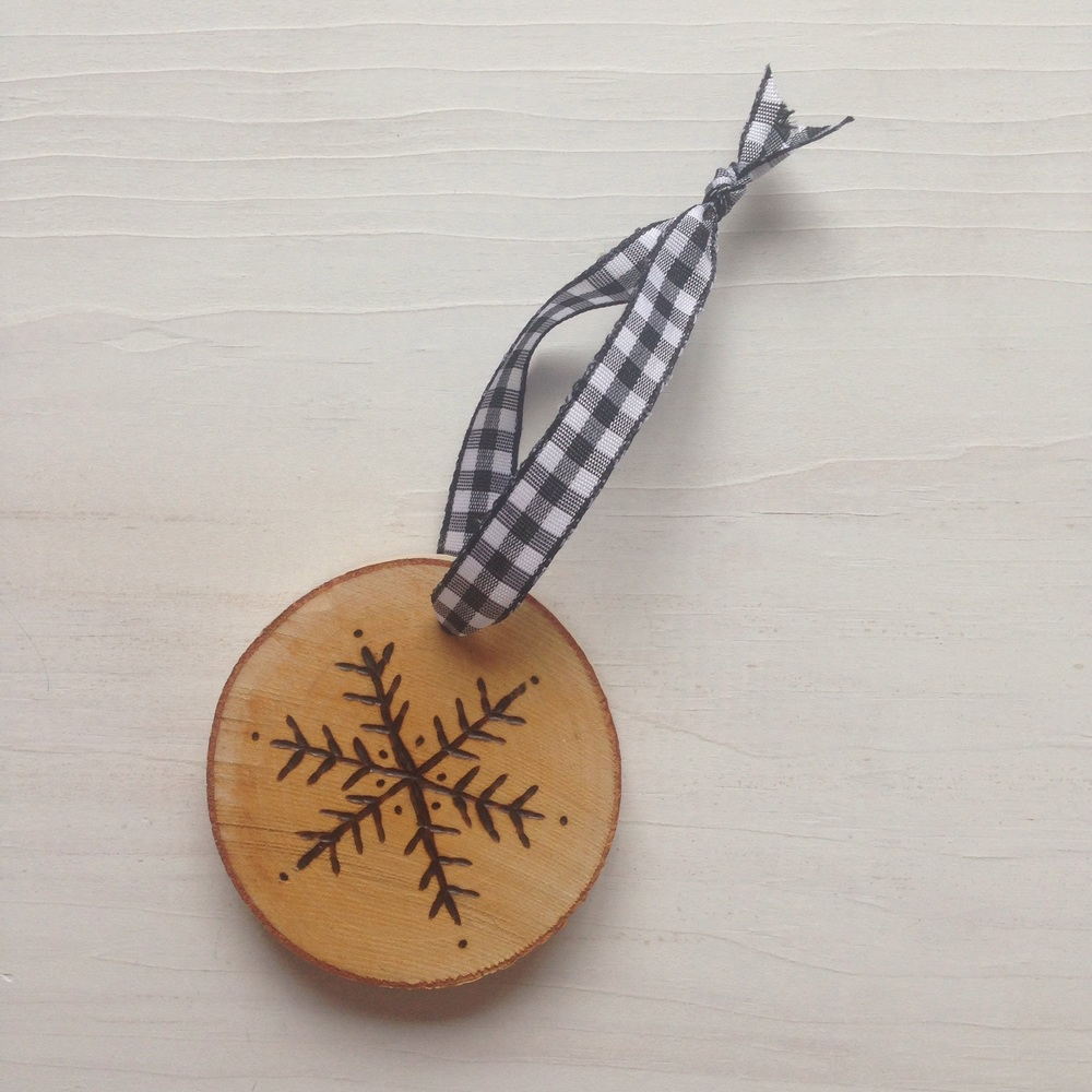 """Rustic Hand-Etched Birch """"Martha"""" Snowflake Ornament by Birch Landing Home."""