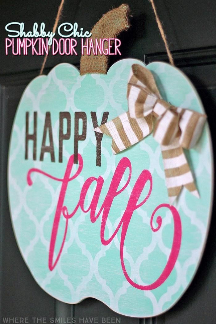Shabby Chic Pumpkin Door Hanger