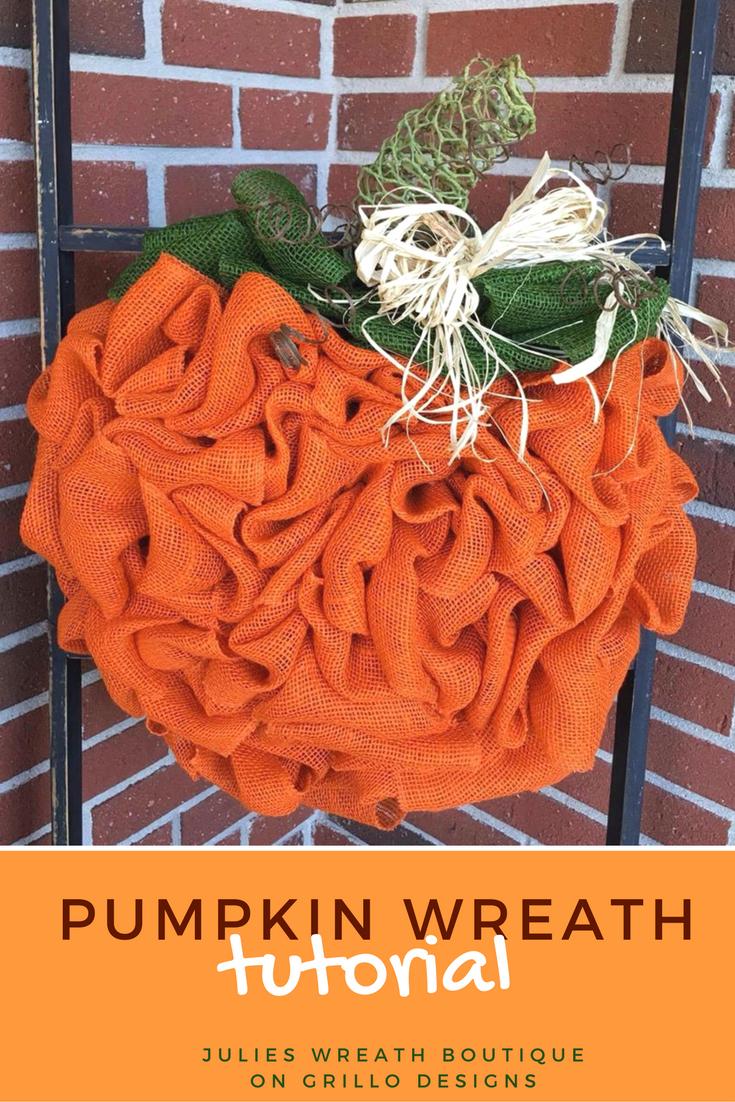 Pumpkin Wreath Tutorial with Burlap
