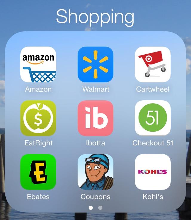 Favorite Money Saving Apps - Amazon, Savings Catcher, Cartwheel, EatRight, Ibotta Checkout 51, Ebates, Coupon Sherpa, Kohl's