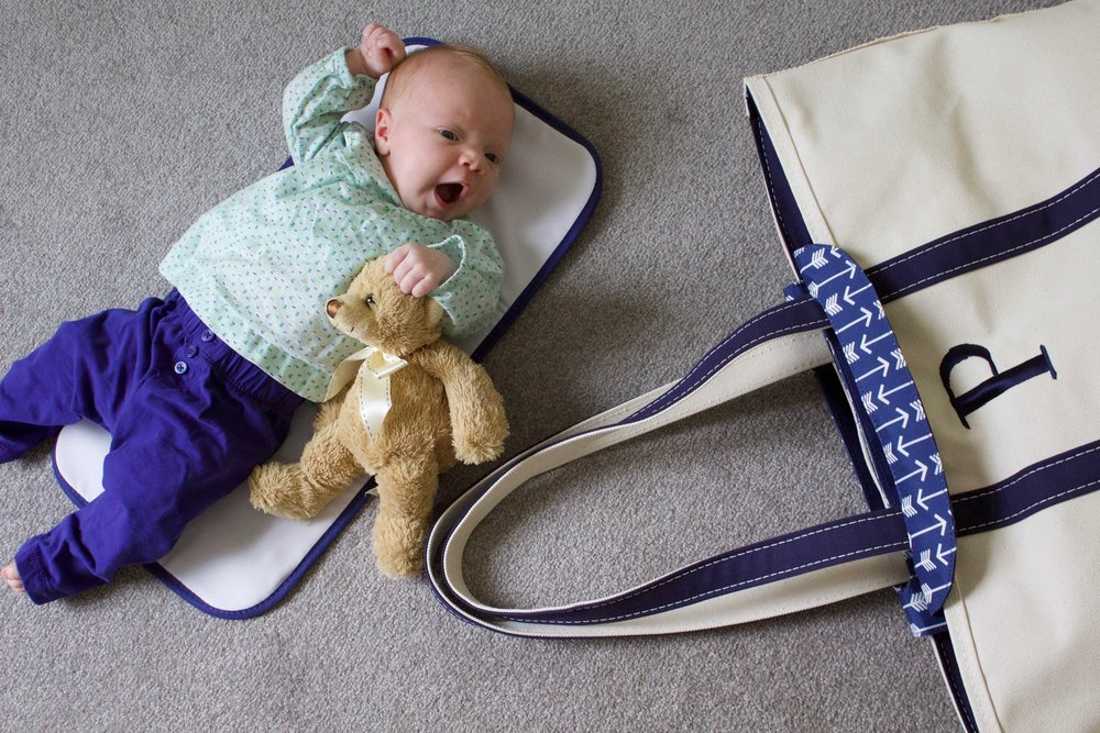 Getting ready to use our L.L. Bean Boat Tote and Diaper Insert