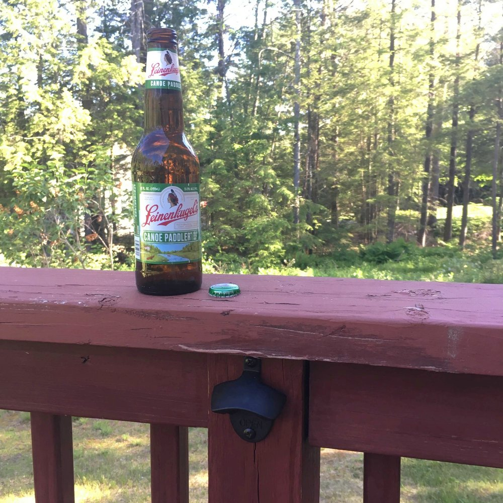 Life Hack:  Bottle Opener on Deck Railing