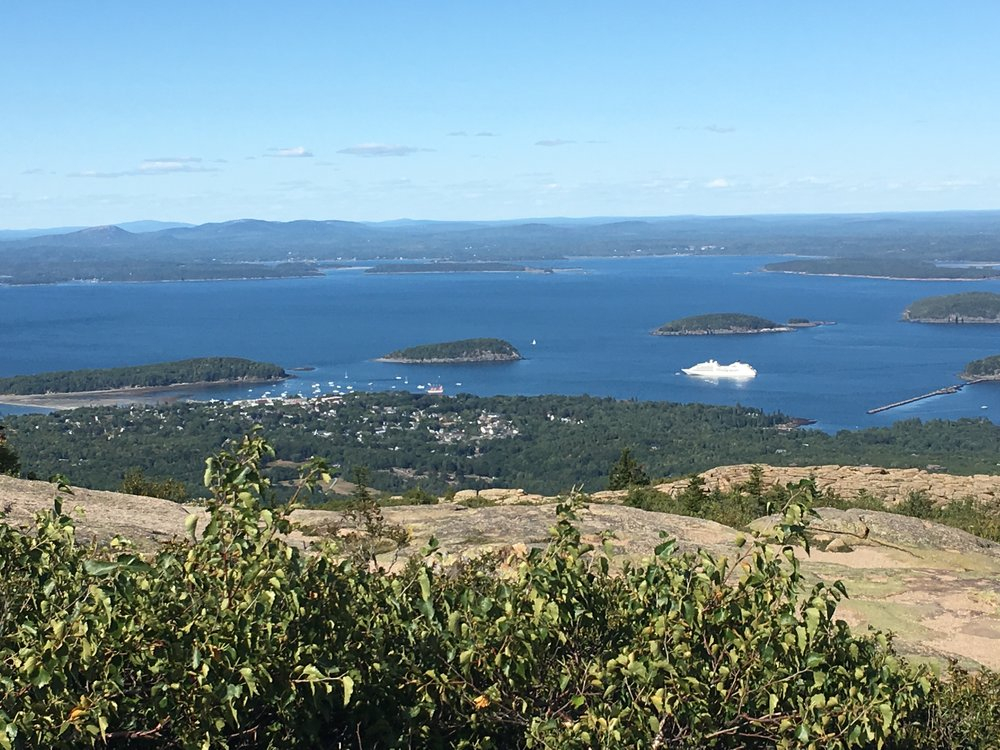 The view from the top of Cadillac Mountain - look how big that cruise ship is compared to downtown Bar Harbor!