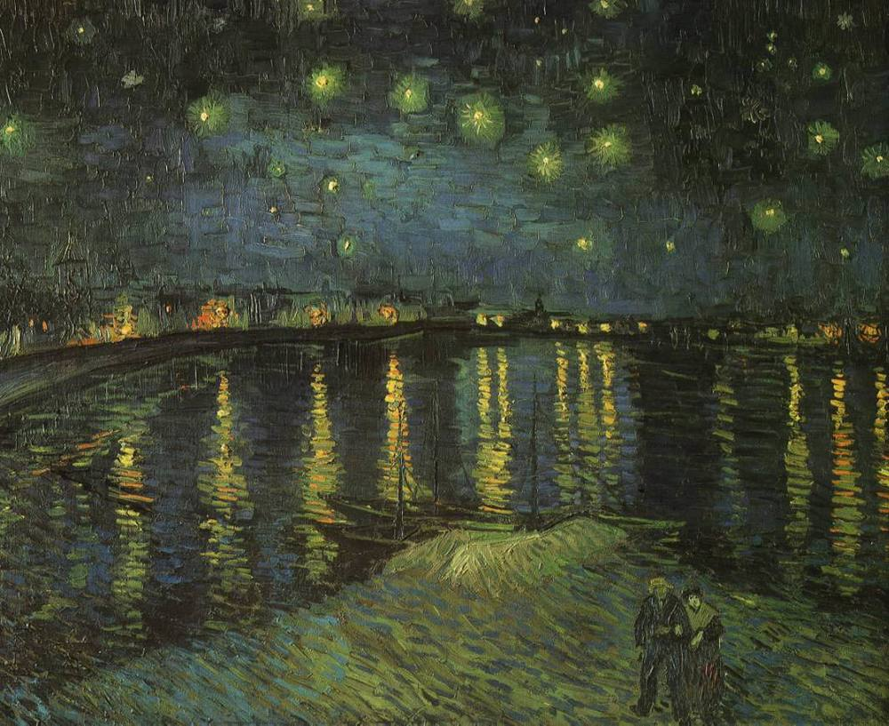 """What are the stars but points in the body of God where we insert the healing needles of our terror and longing?""    Thomas Pynchon,  Gravity's Rainbow   (Vincent Van Gogh's   Starry Night over the Rhone )"