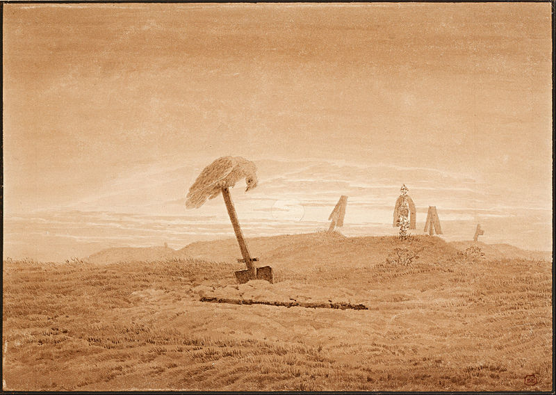 """And I will show you something different from either     Your shadow at morning striding behind you     Or your shadow at evening rising to meet you;     I will show you fear in a handful of dust.""   T. S. Eliot,  The Waste Land    (Caspar David Friedrich's  Landscape with Graves )"