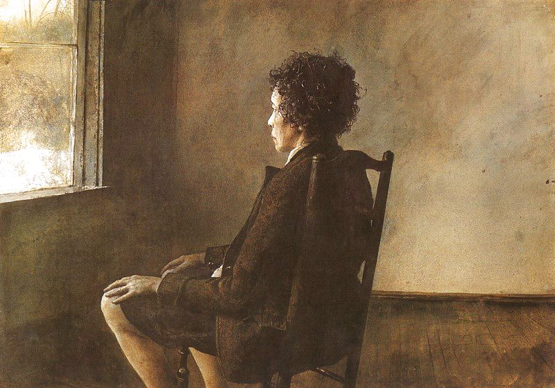 """It's the great mystery of human life that old grief passes gradually into quiet tender joy.""   Fyodor Dostoevsky,  The Brothers Karamazov      (Andrew Wyeth's  Up In The Studio )"